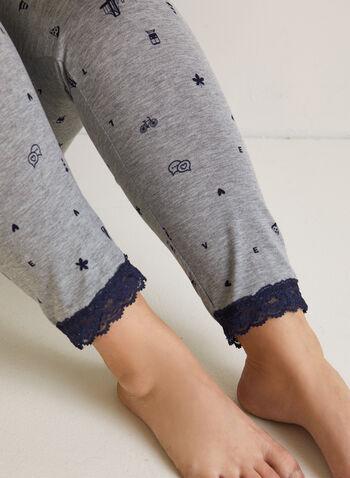 Lace Trim Pyjama Set, Grey,  fall winter 2020, pyjama set, lace