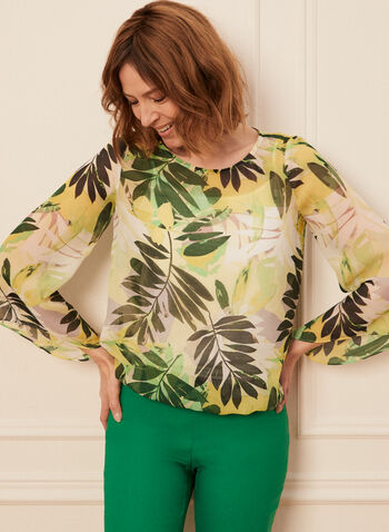 Palm Leaf Print Blouse, Green,  blouse, chiffon, palm leaf, angel sleeves, camisole, scoop neck, elastic, spring summer 2020