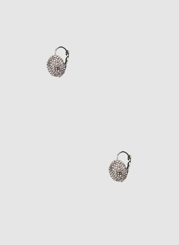 Rhinestone Stud Earrings, Grey,  studs, fireball, rhinestone, earrings, clip, french clip, metallic, fall 2019, winter 2019