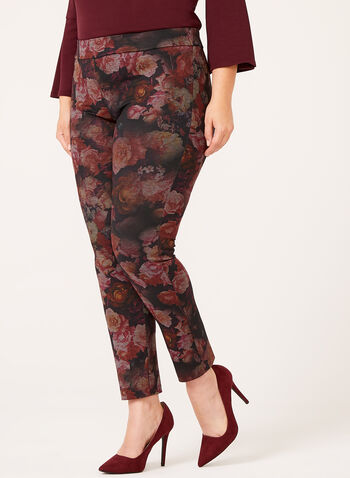 Slim Leg Floral Print Pull-On Pants, Black, hi-res