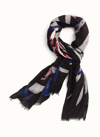 Grand foulard à fleurs et à franges, Bleu, hi-res