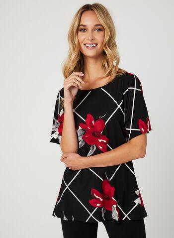 Floral Print Dolman Sleeve Top, Black, hi-res