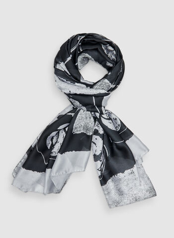 Floral Print Scarf, Black,  scarf, lightweight, floral print, fall 2019
