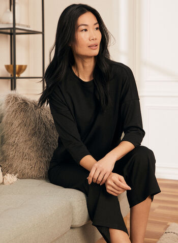 3/4 Sleeve Top, Black,  top, round neck, 3/4 sleeves, sweater, loungewear, home, ponte di roma, fall winter 2020