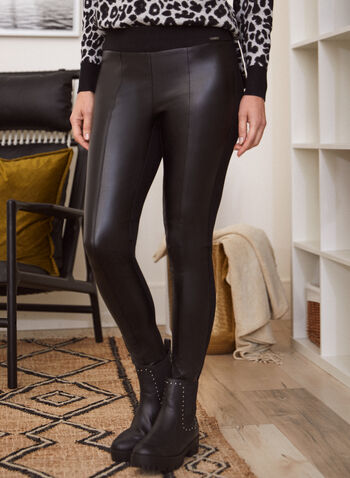 Legging en similicuir, Noir,  legging, pantalon, à enfiler, pull-on, jambe étroite, similicuir, coutures apparentes, automne hiver 2021, bas, basique