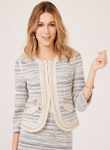 Vex – Stripe Print Cropped Knit Jacket, Blue, hi-res