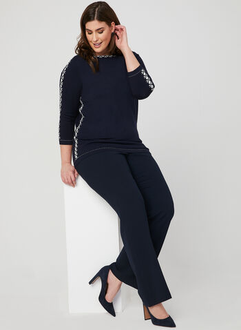 Alison Sheri - Boat Neck Sweater, Blue, hi-res