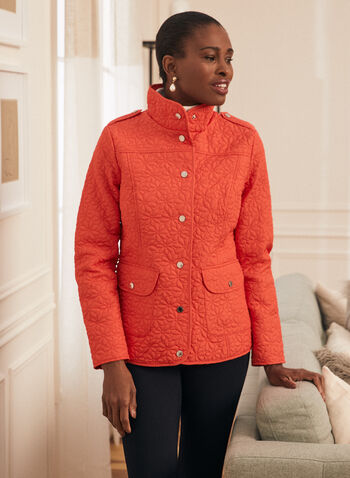 Novelti - Daisy Quilted Coat, Red,  spring summer 2020, quilted coat, flap pcokets