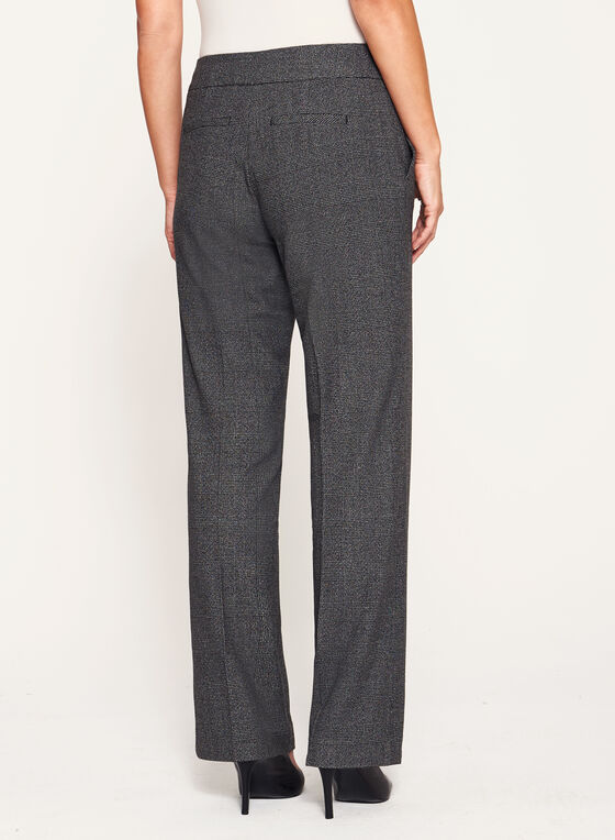 Glen Check Modern Fit Wide Leg Pants, Black, hi-res