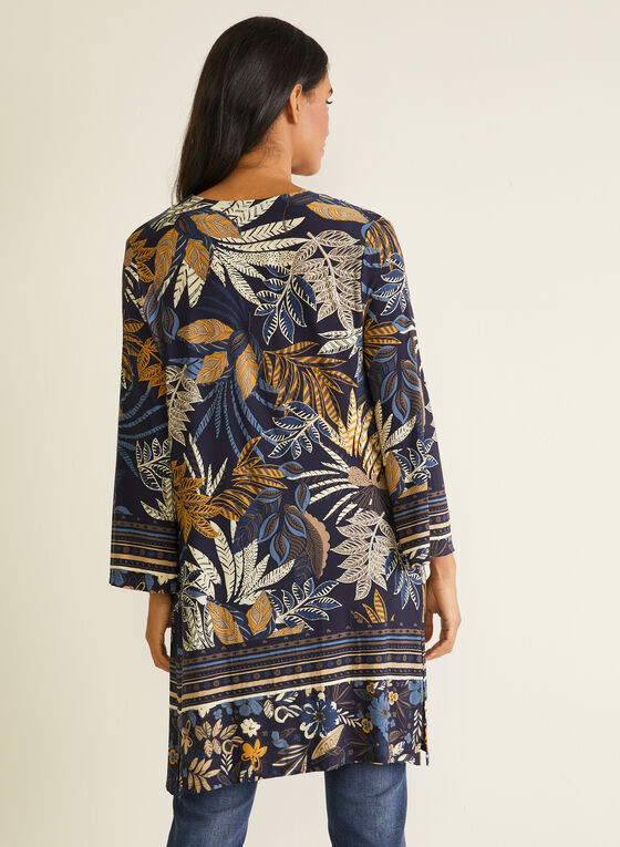Tropical Print Open Front Top, Blue