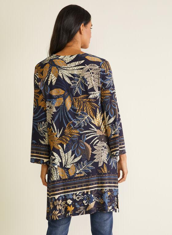 Haut ouvert motif tropical, Bleu