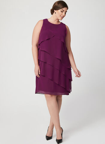 Tiered Chiffon Dress, Purple, hi-res