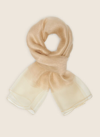 Silk Blend Lightweight Scarf, Gold,  scarf, lightweight, silk, metallic, sheer, spring summer 2020