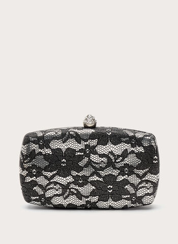 Floral Lace Print Box Clutch, Black, hi-res