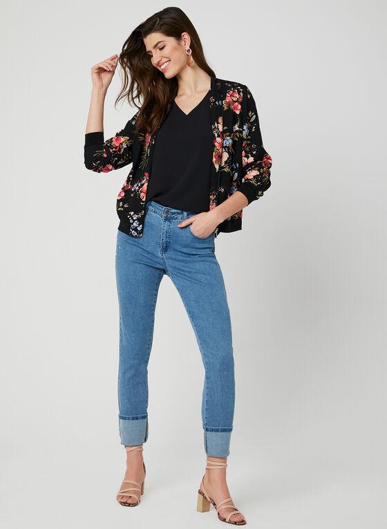 Floral Print Bomber Jacket, Black