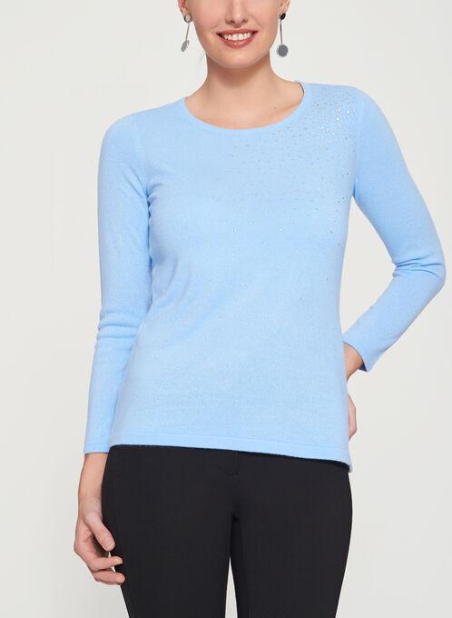 Crystal Embellished Long Sleeve Sweater, Blue, hi-res