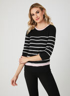 Stripe Print Knit Top, Black, hi-res