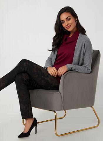 Pantalon coupe moderne à fleurs, Noir,  automne hiver 2019, pantalon, pull-on, taille élastique, jambe étroite, motif, fleurs, floral, fleuri, coupe moderne, Canada