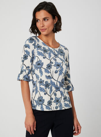 Floral Print Ruffle Sleeve Top, Blue, hi-res