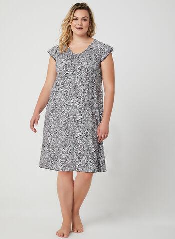 Hamilton – Animal Print Nightshirt, Black, hi-res,  leopard print nighty, leopard print pyjama, pajama, nightgown, animal print