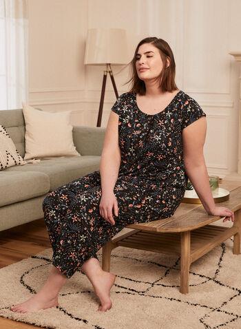 Floral Print Pyjama Set, Black,  pyjamas, set, ensemble, 2-piece, scoop neck, short sleeves, floral print, capris, pull-on, spring summer 2021