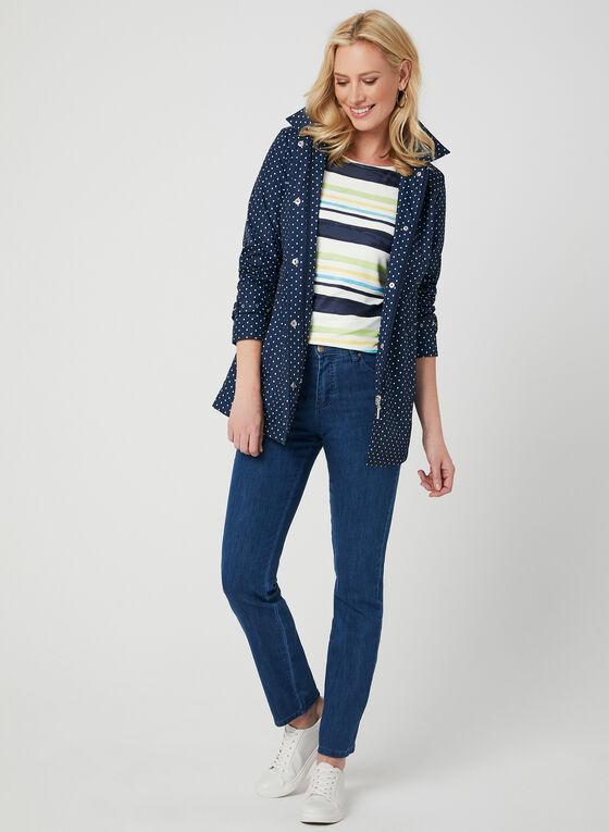 Stripe Print Jersey Top, Blue, hi-res