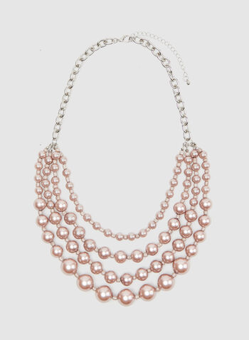 Tiered Pearl Necklace, Pink, hi-res