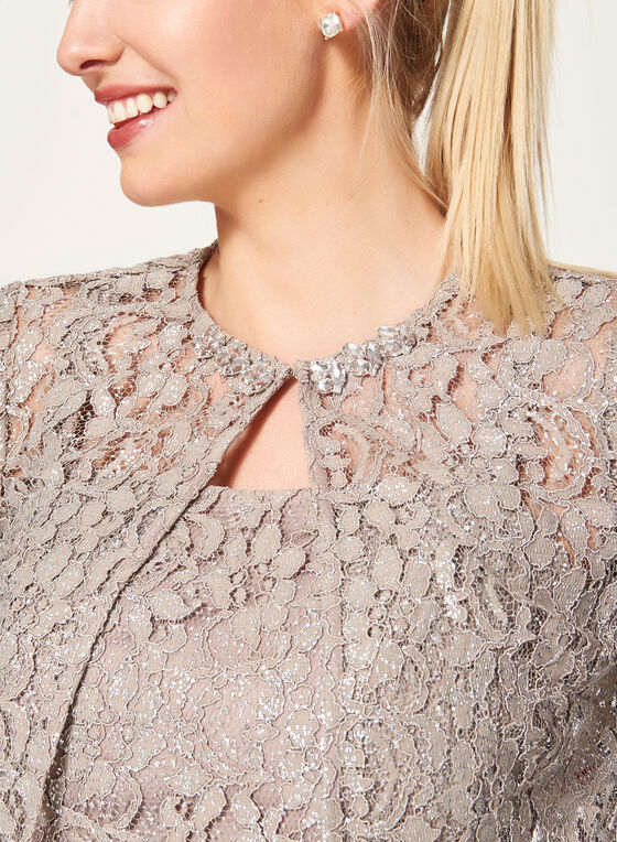 Foil Lace Dress with Bolero, Brown, hi-res