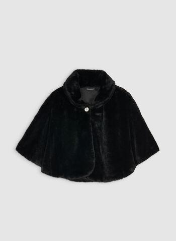 Nina Leonard - Cape en fausse fourrure, Noir,  cape, fausse fourrure, bouton cristal, automne hiver 2019
