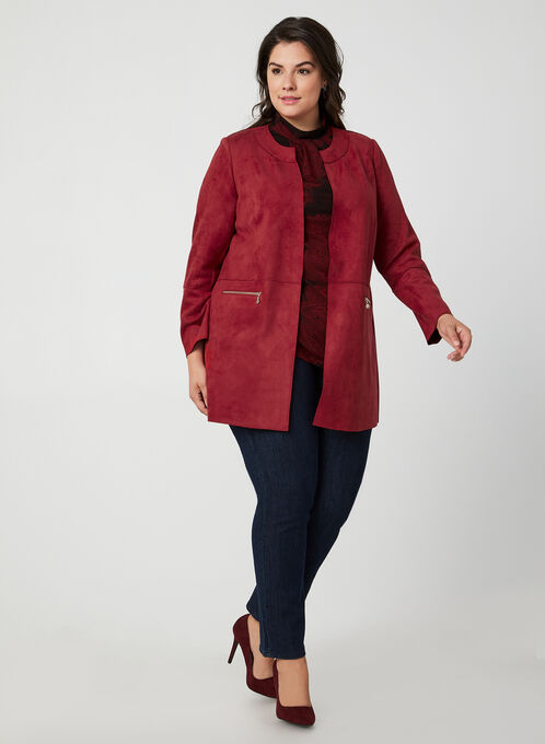 Vex - Faux Suede Duster Jacket, Red, hi-res
