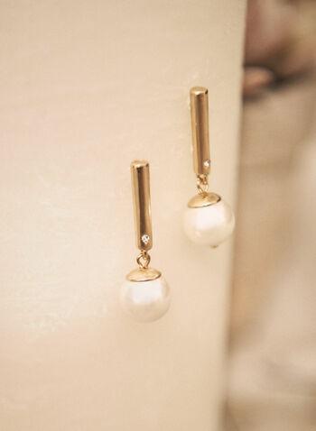 Pearl Dangle Earrings, Off White,  made in Canada, accessories, jewellery, jewelry, earrings, dangle earrings, metal bar, pearl, crystal, fall winter 2021