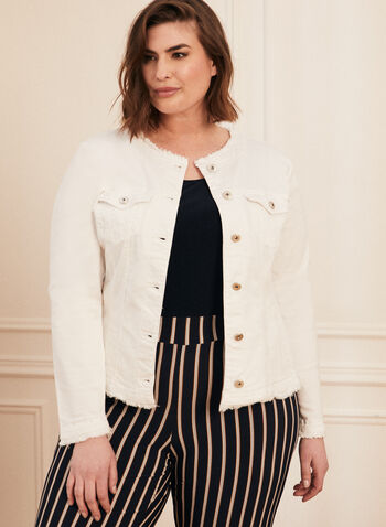 Blazer en denim à détails effilochés, Blanc cassé,  blazer, denim, effiloché, col rond, poches, printemps été 2020