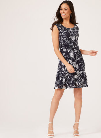 Floral Print Mesh Overlay Dress, Blue, hi-res