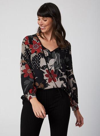 Multi-Pattern Blouse, Black, hi-res,  blouse, crepe, long sleeves, split neck, floral, fall 2019, winter 2019