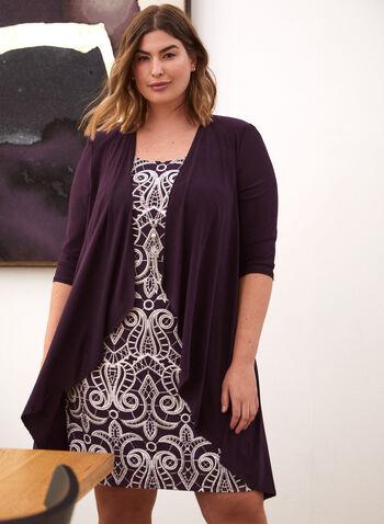Ensemble robe en brocart et cardigan, Violet,  automne hiver 2020, robe courte, sans manches, encolure ronde, cardigan long, manches ¾, manches 3/4, jersey, extensible
