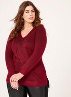 Contrast Rib Knit Tunic, Red, hi-res