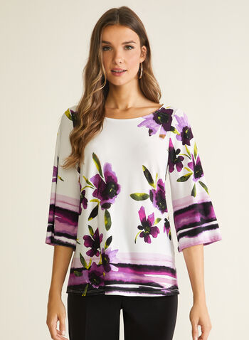 Floral Print 3/4 Sleeve Top, White,  top, floral print, striped, 3/4 sleeves, spring summer 2020
