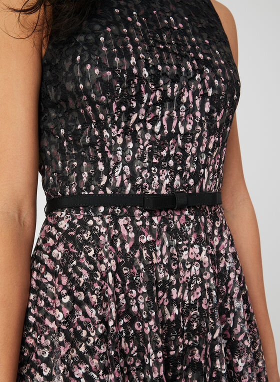 Abstract Print Fit & Flare Dress, Black