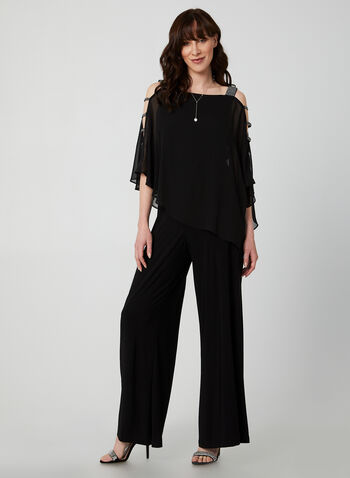 Wide Leg Jumpsuit, Black,  jumpsuit, chiffon, wide leg, wide leg jumpsuit, rhinestones, Holiday, fall 2019, winter 2019, jersey