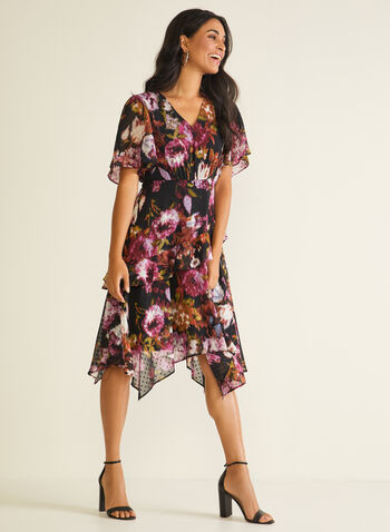 Floral Print Chiffon Dress, Black,  day dress, floral print, chiffon, ruffled, sharktooth, layered, short sleeves, spring summer 2020