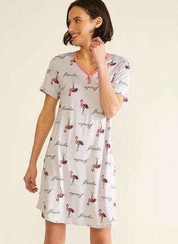 Robe de nuit imprimée, Gris,  automne hiver 2020, robe de nuit, pyjama, chemise de nuit