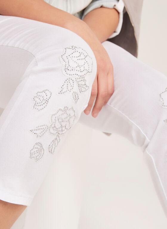 Simon Chang - Jean coupe signature à broderies florales, Blanc, hi-res