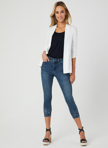 ¾ Sleeve Open Front Cardigan, White, hi-res