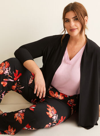 Floral Print Wide Leg Pants, Black,  pants, pull-on, wide leg, jersey, floral, modern fit, spring summer 2020