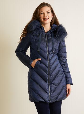 Manteau iridescent à fausse fourrure, Bleu,  automne hiver 2020, manteau, manteau d'hiver, matelassé, capuchon, duvet, poches, plumes