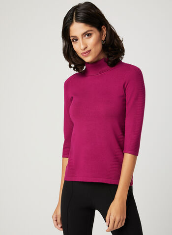 Ottoman Knit Sweater, Pink, hi-res