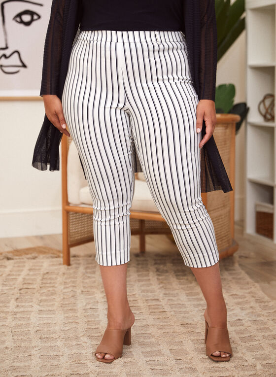 Vertical Stripe Print Capris, Black