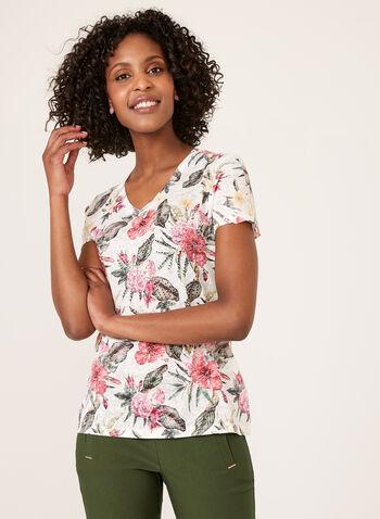 Haut floral à manches courtes et détails strass, Vert, hi-res