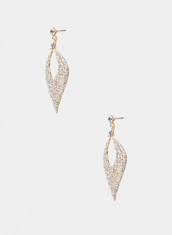 Drop Earrings, Gold, hi-res,  metallic, crystal, rhinestone, teardrop, drop earrings, dangle earrings, earrings, fall 2019, winter 2019