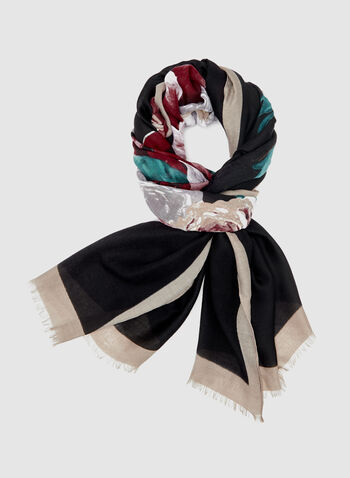 Lightweight Floral Print Scarf, Red, hi-res